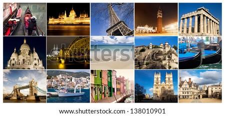 Collection of travel phootos - stock photo