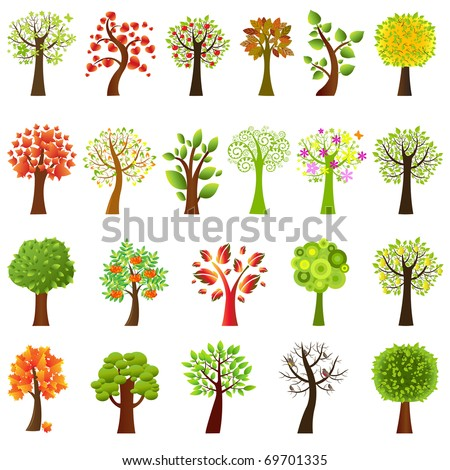 Collection Of Trees, Isolated On White Background - stock photo