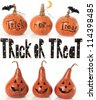 Collection of trick or treat pumpkins. - stock photo