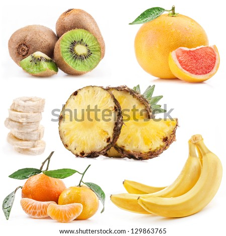 Collection of tropical fruits isolated on white background - stock photo