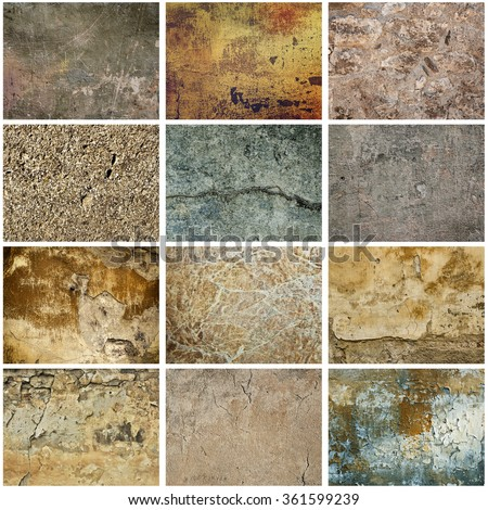 Collection of twelve images with vintage grunge texture of old weathered dirty wall - stock photo