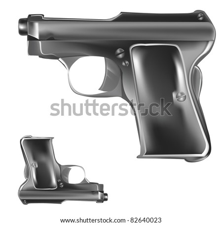 Collection of two handgun,pistols - stock photo