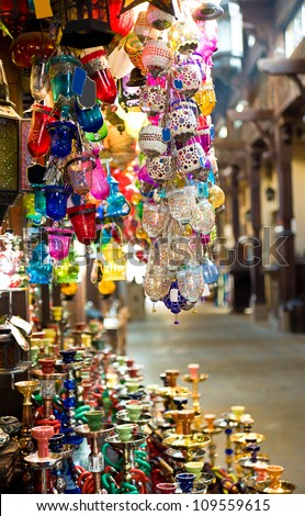 collection of typical Tuskish Lanterns on sale - stock photo