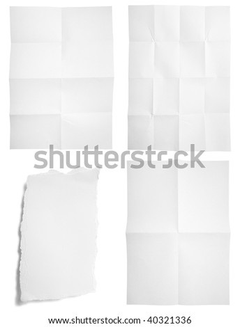 collection of unfolded and ripped paper on white background. each one is in full cameras resolution - stock photo