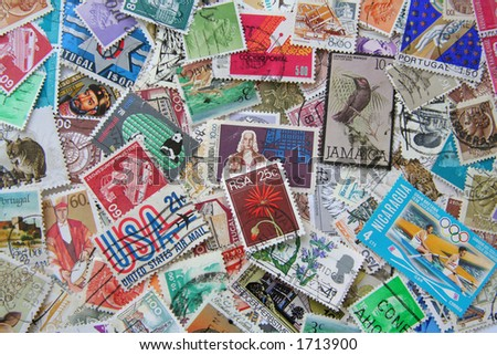 Collection of used Stamps - stock photo