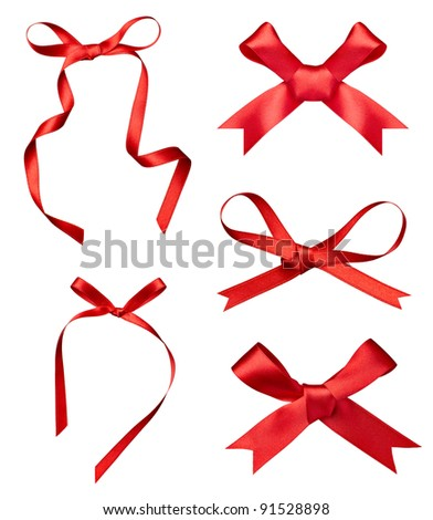 collection of various a silk ribbon knot on white background. each one is shot separately - stock photo