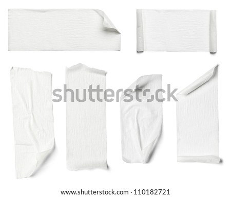 collection of  various adhesive tape pieces on  white background - stock photo