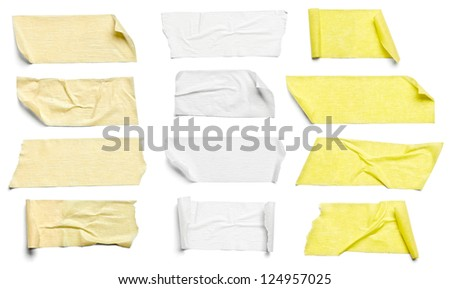 collection of  various adhesive tape pieces on  white background. each one is shot separately - stock photo