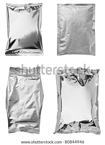 collection of various aluminum bags on white background. each one is shot separately - stock photo