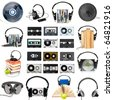 Collection of various audio gear on white background - stock photo