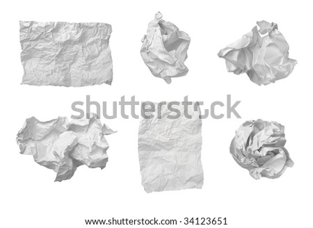collection of various  balls of paper on white background. each one is in cameras full resolution