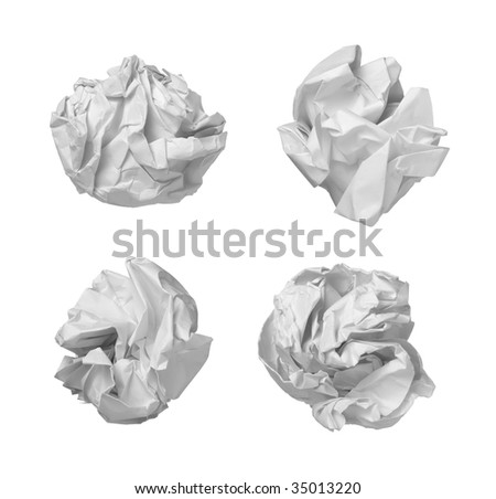 collection of various  balls of paper on white background. each one is in cameras full resolution - stock photo