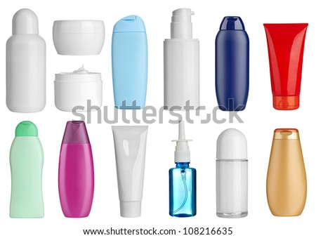 collection of  various beauty hygiene bottles on white background. each one is shot separately - stock photo