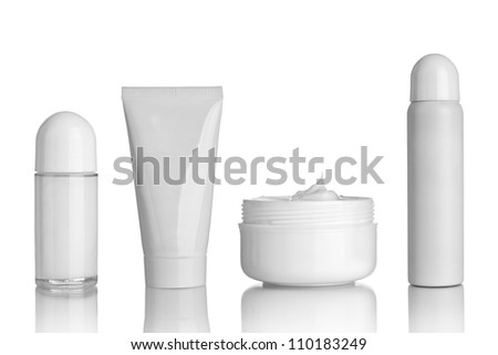 collection of  various beauty hygiene containers on white background - stock photo