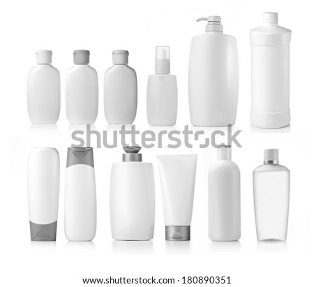 collection of various beauty hygiene containers on white background. each one is shot separately - stock photo