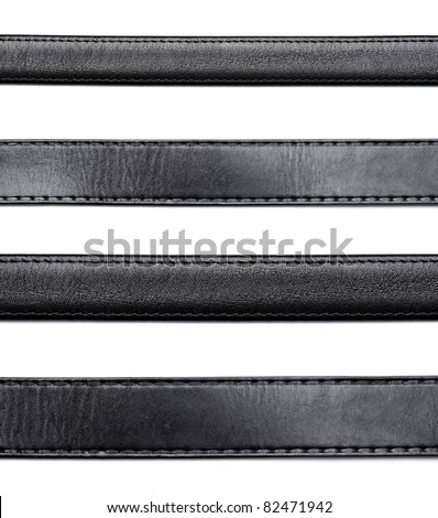 collection of various  black leather belt on white background. each one is shot separately - stock photo