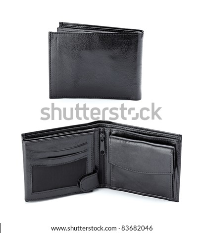 collection of various black leather wallets on white background