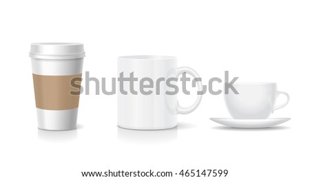 Collection of various blank coffee cups isolated on white Realistic set with paper and porcelain cup, china mug.