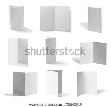 collection of various  blank folded leaflet white paper on white background. each one is shot separately - stock photo
