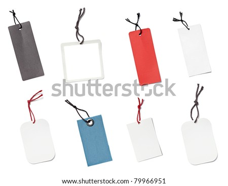 collection of various blank price labels on white background. each one is shot separately - stock photo