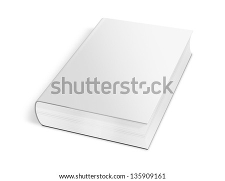 collection of various blank white book on white background with clipping path