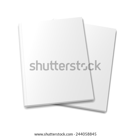 collection of various  blank white   books on white background - stock photo