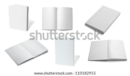 collection of various  blank white paper on white background. - stock photo