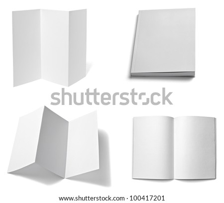 collection of various  blank white paper on white background. each one is shot separately