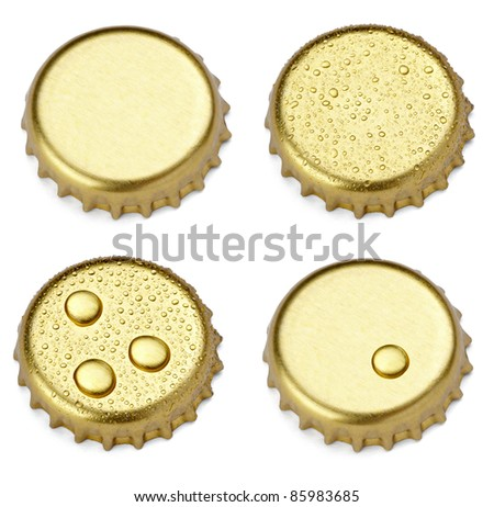 collection of  various bottle cap on white background. each one is shot separately - stock photo