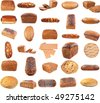 Collection of various bread . Isolated over white background . - stock photo