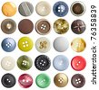 collection of various buttons on white background. each one is shot separately - stock photo