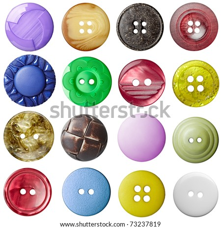 collection of various buttons on white background. each one is shot separately
