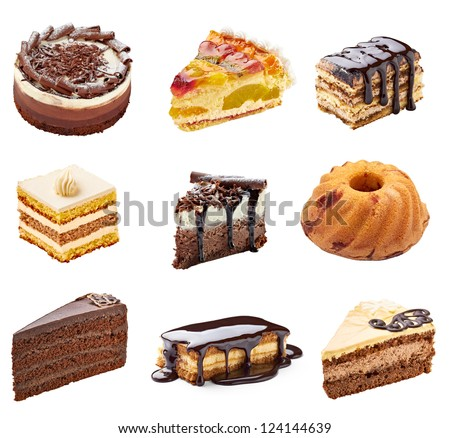 collection of  various cakes on white background. each one is shot separately - stock photo