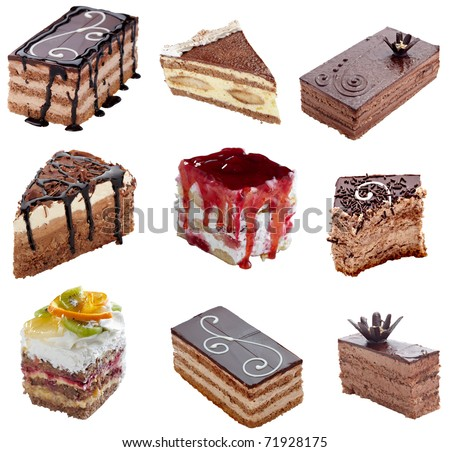 collection of various cakes on white background, each one is shot separately - stock photo