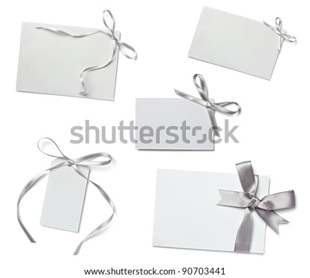 collection of  various card notes with ribbon on white background.each one is shot separately - stock photo