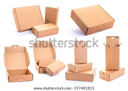 collection of various Cardboard Box isolated on a White background - stock photo