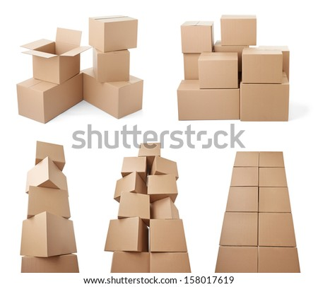 collection of various cardboard boxes on white background. each one is shot separately