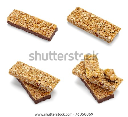 collection of various cereal bars on white background. each one is shot separately - stock photo