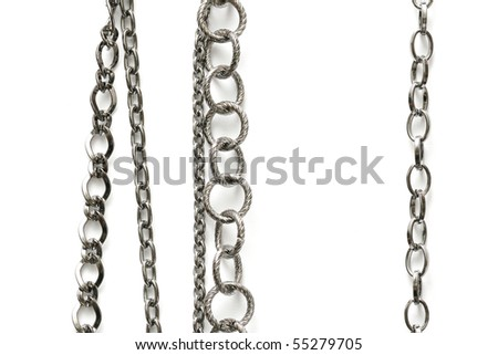 collection of various chains on white background