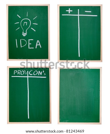 collection of various chalkboards - stock photo