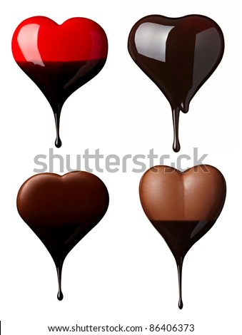 collection of  various chocolate heart shapes on white background. each one is shot separately - stock photo
