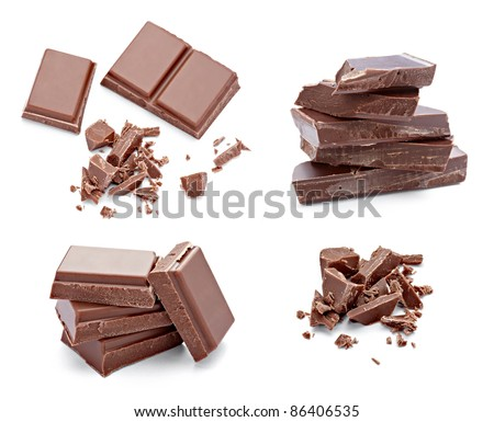 collection of various chocolate pieces on white background. each one is shot separately