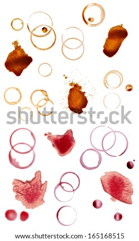 collection of various coffee and wine stains on white background. each one is shot separately - stock photo