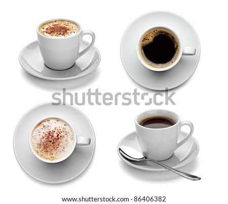 collection of various coffee cups on white background. each one is shot separately - stock photo