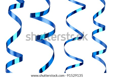 collection of  various curled ribbon on white background. each one is shot separately