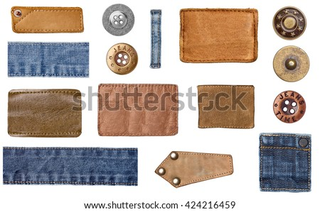 collection of various denim jeans parts. each one is shot separately - stock photo
