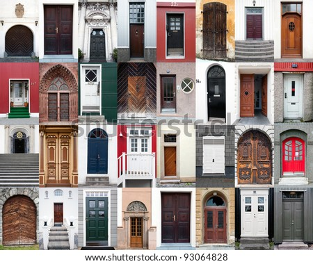 collection of various doors - stock photo