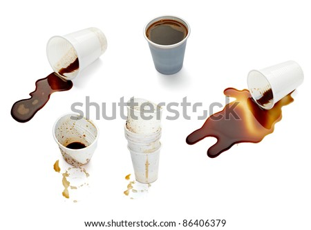 collection of various empty used coffee cups on. each one is shot separately - stock photo