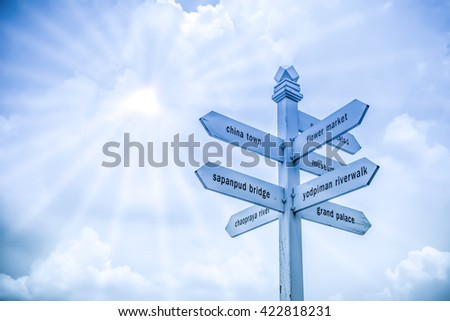 Collection of various empty wooden sign on blue,orange sky with sun-ray background made pastel filter style