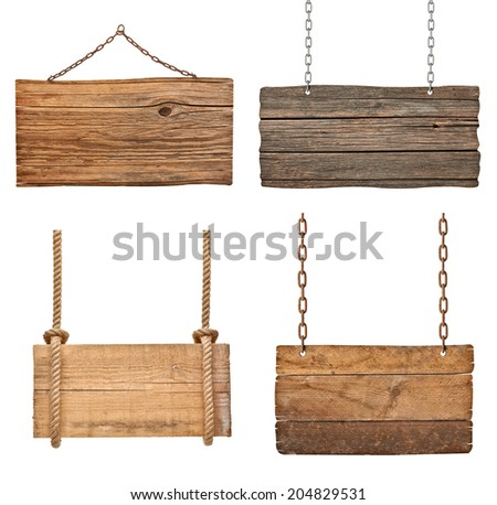 collection of various empty wooden signs hanging on a rope and chain on white background. each one is shot separately - stock photo
